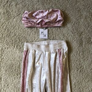 Velour Pink and White Bandeau and Pants Set
